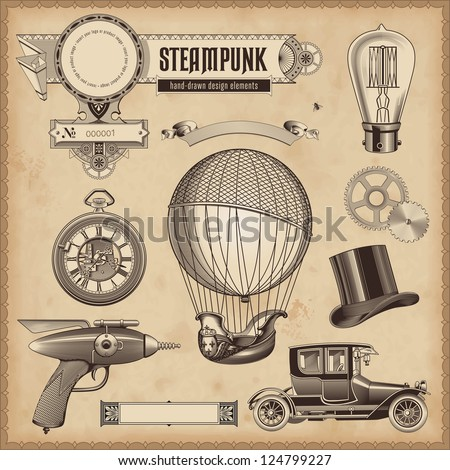 vector set: Steampunk design elements - stock vector