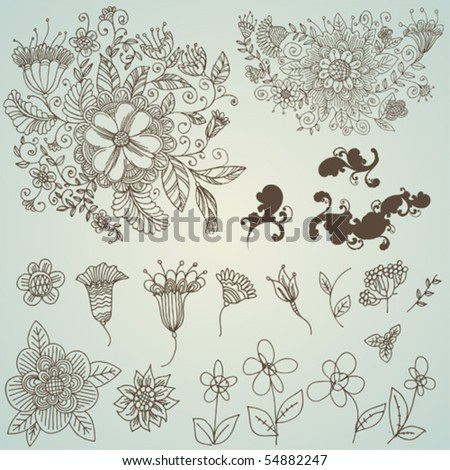vector set: swirls and flower - stock vector