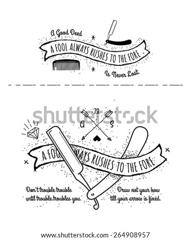 vector set - Trendy Retro Vintage Insignias - tattoo Badges - dot work  - stock vector