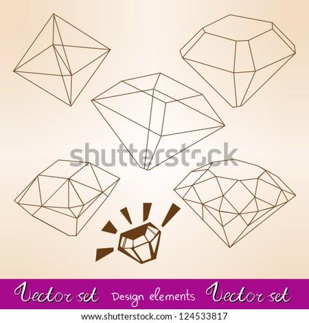Vector set types of diamond's cuts. - stock vector