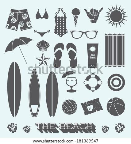 Vector Set: Under the Sun Beach Icons - stock vector