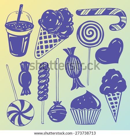 Vector set: Various hand drawn candy for children - stock vector