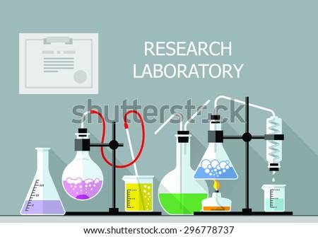 Vector set - Vector set - Chemical Research Laboratory. Flat design. Flat design The test tube, beaker, flask - stock vector