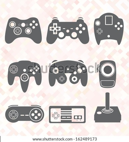 Vector Set: Video Game Controller Silhouettes - stock vector
