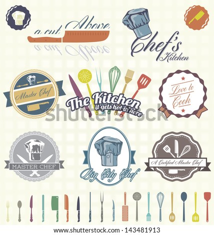 Vector Set: Vintage Chef Labels and Icons - stock vector