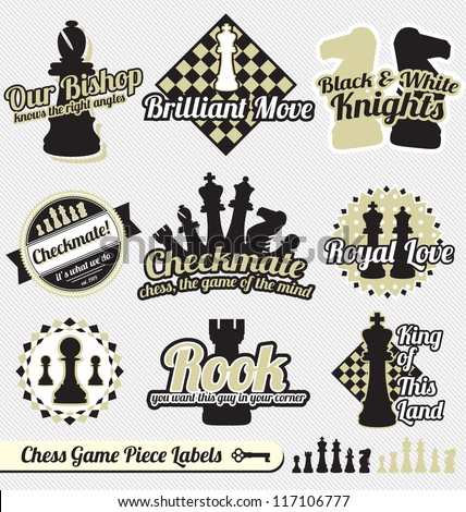 Vector Set: Vintage Chess Pieces Labels and Icons - stock vector