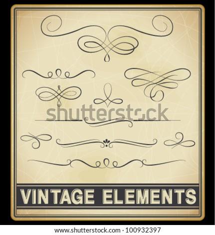 Vector Set: Vintage Design Elements - stock vector