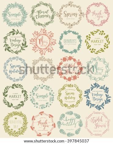 Vector set vintage Floral Wreath labels - stock vector