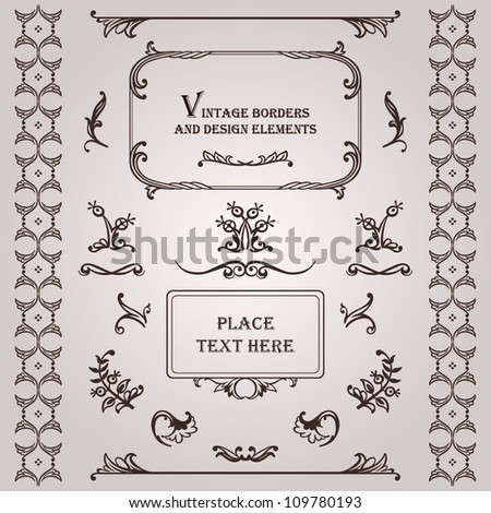 Vector set: vintage frames, text dividers and floral elements - stock vector