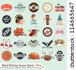 Vector Set: Vintage Mixed Holiday Season Labels - stock vector