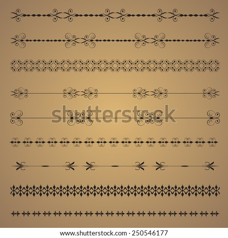 Vector set vintage ornate border frame with retro ornament pattern in antique  style.  - stock vector