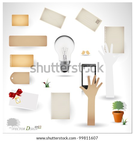 Vector set: Vintage postcard, bulb, phone and blank paper designs. (variety of scraps for your layouts or scrapbooking projects) - stock vector