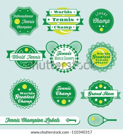 Vector Set: Vintage Tennis International Champion Labels - stock vector