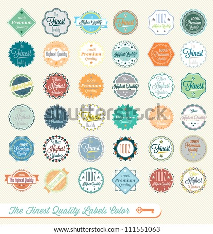 Vector Set: Vintage The Finest Quality Labels Multi-Color - stock vector