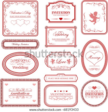 Vector set: vintage valentines day and wedding labels - stock vector