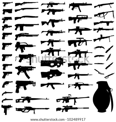 Vector Set - Weapons - Pistols, Sub Machine Guns, Assault Rifles, Sniper Rifles, LMGs, Knives, Grenades - stock vector