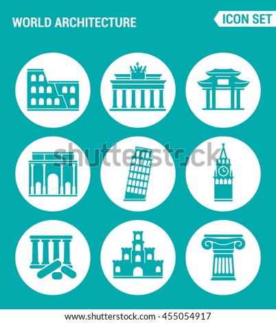 Vector set web icons. World architecture Colosseum, gate, China, Berlin, Leaning Tower, Big Ben, Greek ruins, Castle, Columns. Design of signs, symbols on a turquoise background - stock vector
