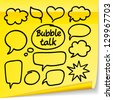 Vector set with bubble talk. Marker drawing on yellow sticker - stock vector