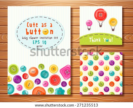 Vector set with cute buttons. Perfect for baby shower, birthday and other events.  - stock vector