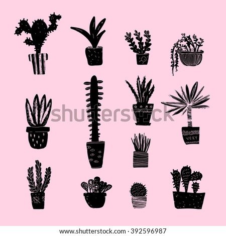 Vector set with different plants. - stock vector
