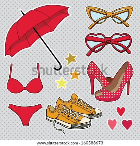 vector set with fashion accessories - stock vector