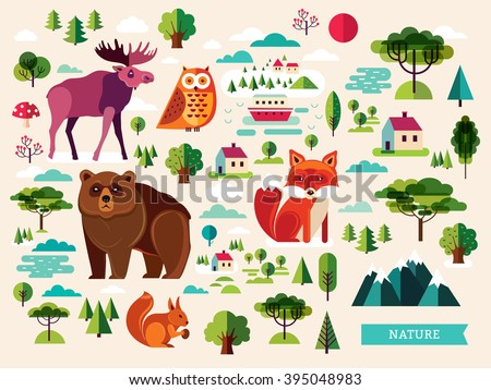 Vector set with forest animals and and landscape elements. Flat animals - stock vector