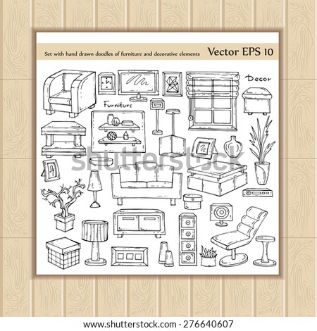 Vector set with hand drawn doodles of furniture and decorative elements on white background. Sketches for use in design - stock vector