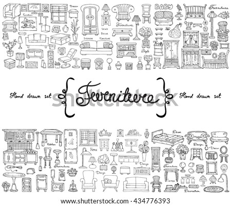 Vector set with hand drawn isolated doodles on the  theme of furniture. Flat illustrations of objects for decoration and interior. Sketches for use in design - stock vector