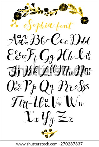 Vector set with hand written ABC letters. Calligraphy collection font from my big font collection.Wedding alphabet. Hand drawn letters. Letters of the alphabet written with a brush. - stock vector