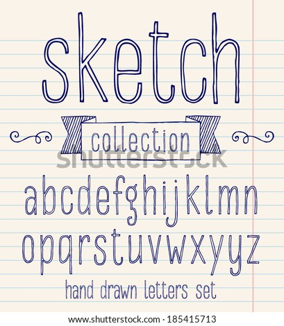 Vector set with hand written ABC letters. Sketch collection - stock vector