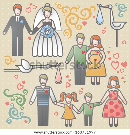 Vector set with happy families. Father, mother and children. Design elements, designers toolkit. It can be used for decoration of web page, invitations, cards, brochures, magazines, leaflets, bags. - stock vector