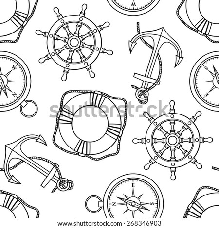 Vector set with isolated anchor, lifebuoy, ship's wheel, compass. Black and white - stock vector