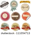Vector set with retro sale labels - stock vector
