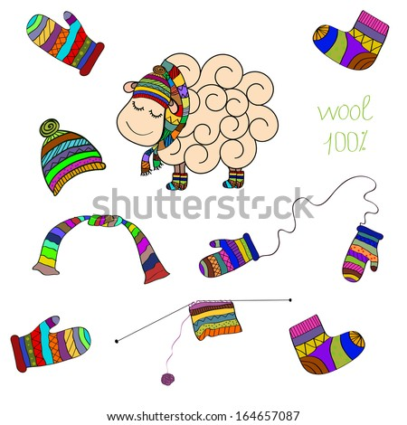 Vector Set with Sheep, Knitted Scarf, Socks, Cap, Mittens, Yarn ball - stock vector