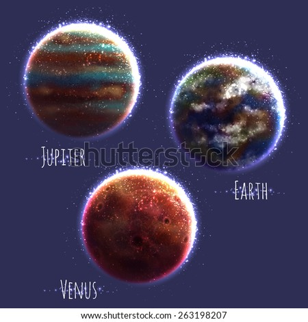 Vector set with three Solar System planets. - stock vector