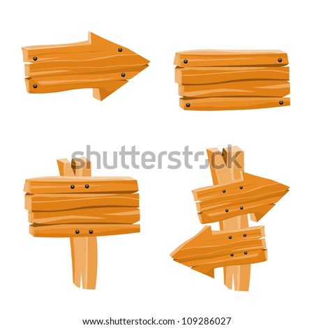 Vector Set with Wooden Signs - stock vector
