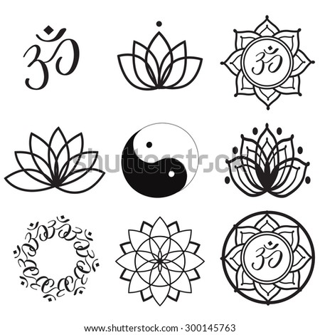 Vector Set Yoga Labels and Icons - stock vector