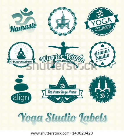 Vector Set: Yoga Studio Labels and Icons - stock vector