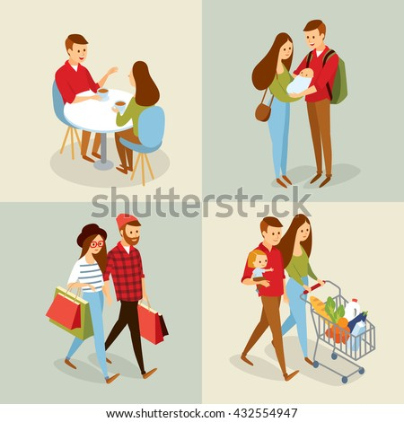 vector sets with people going for shopping, family with baby, couple in cafe - stock vector