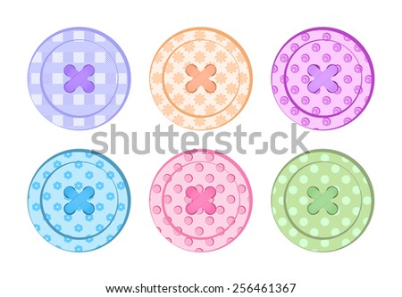 vector sewing buttons orange, blue, green, purple, pink, red, pastel colors with different textures with holes and sewing threads - stock vector