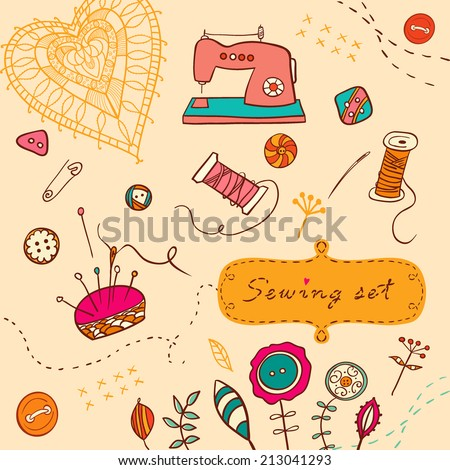 vector sewing colorful set - stock vector