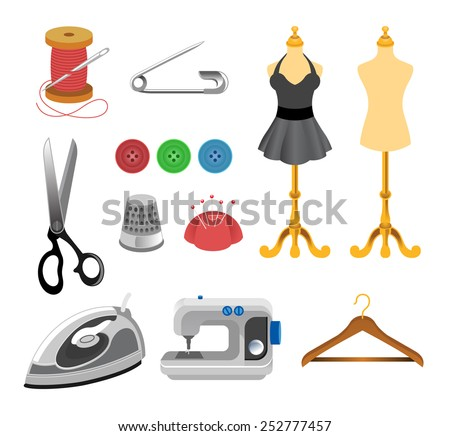 Vector sewing icon set - stock vector