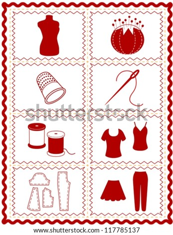 vector – Sewing, Tailoring Tools for dressmaking, textile arts, do it yourself crafts, hobbies, fashion model, pincushion, thimble, needle, thread, clothes patterns, red rick rack frame border. EPS8. - stock vector