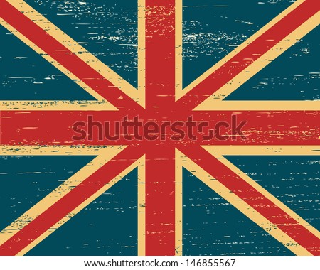 Vector shabby British flag. Image can be used as wallpapers, print on paper, fabric and gadgets. - stock vector