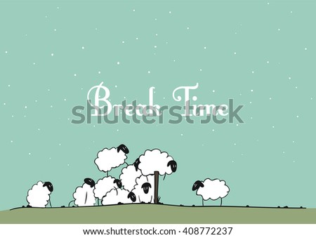 Vector sheep - Break Time - stock vector