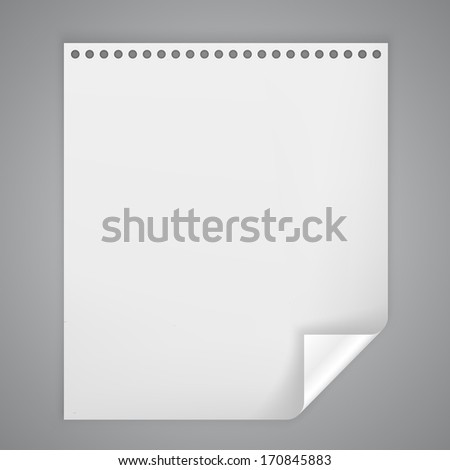 Vector sheet of paper with a bent corner - stock vector