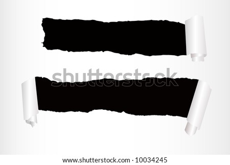 vector sheet of paper with two holes against the black background - stock vector