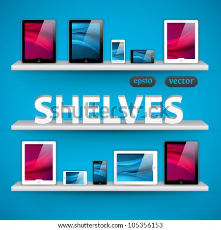 vector shelves with devices - great design elements for your application or website - stock vector