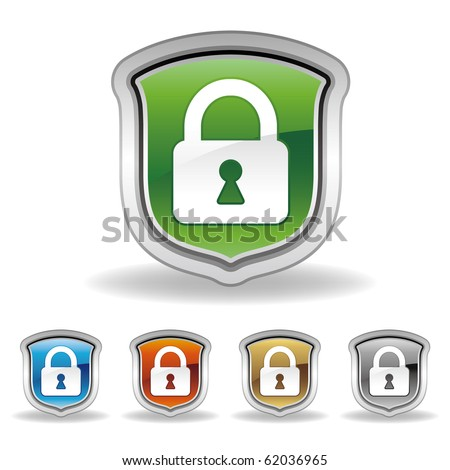 vector shield and lock icon set - stock vector
