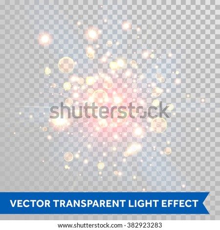 Vector shimmering sparks of fireworks explosion with bokeh optical effect. Red fire shining particles. Glitter light spray on transparent background. - stock vector